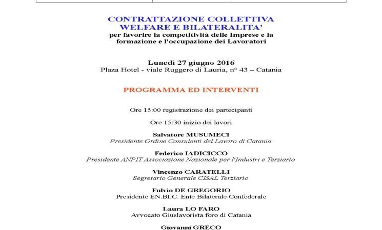 """"""" CONTRATTAZIONE COLLETTIVA, WELFARE E BILATERALITA' """" SICILIA"""