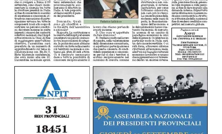 ASSEMBLEA NAZIONALE ANPIT: INTERVISTA DEL PRESIDENTE IADICICCO SU ITALIA OGGI-13 SETTEMBRE 2016