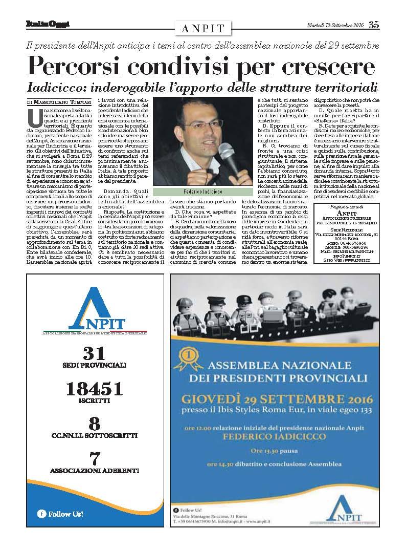 Italia Oggi - 13 Settembre 2016 ANPIT