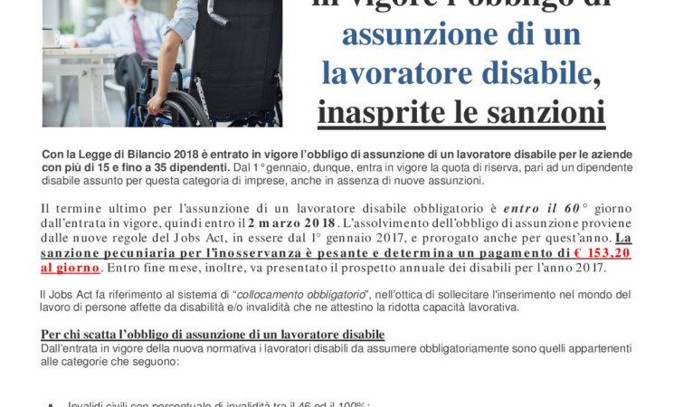 OBBLIGO DI ASSUNZIONE DI UN LAVORATORE DISABILE - LEGGE DI BILANCIO 2018